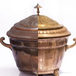 Antique Brass Punch Bowl before & after ultrasonic cleaning