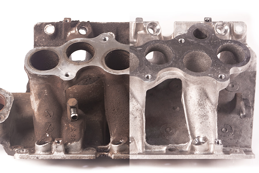 Ultrasonic cleaning: exhaust manifold (removes carbon, grease & road grime...)